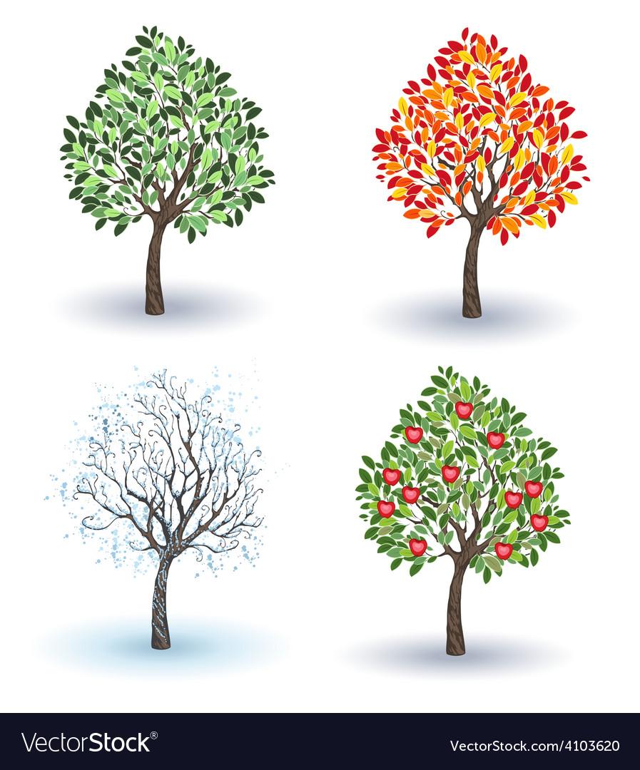 Set of apple trees vector
