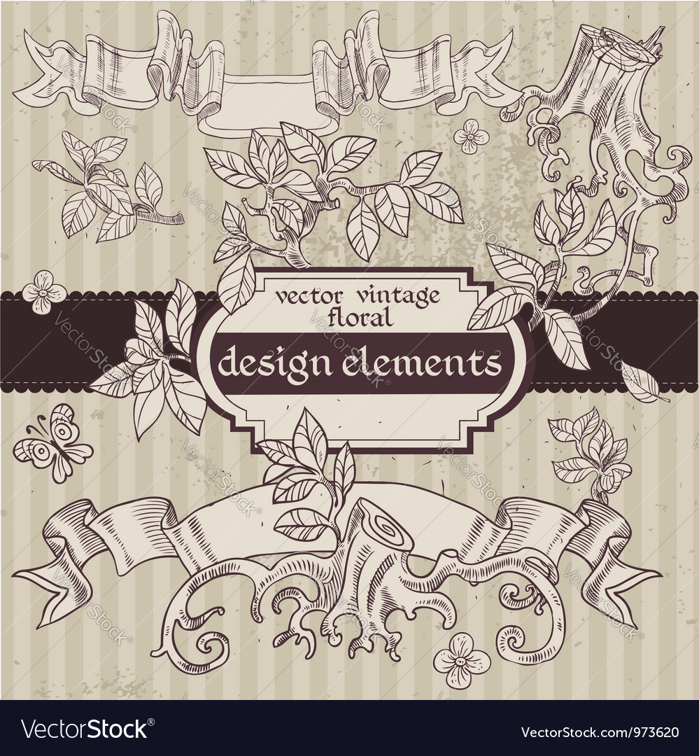 Set of vintage magic fairytale floral design vector | Price: 1 Credit (USD $1)