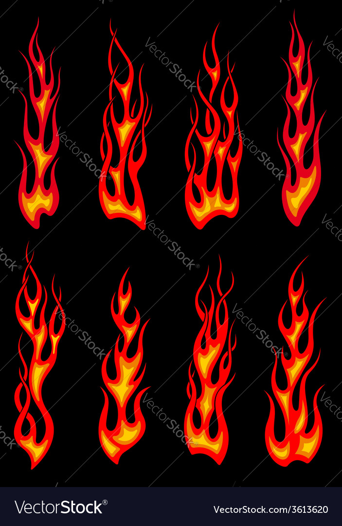 Tribal red flames icons vector | Price: 1 Credit (USD $1)