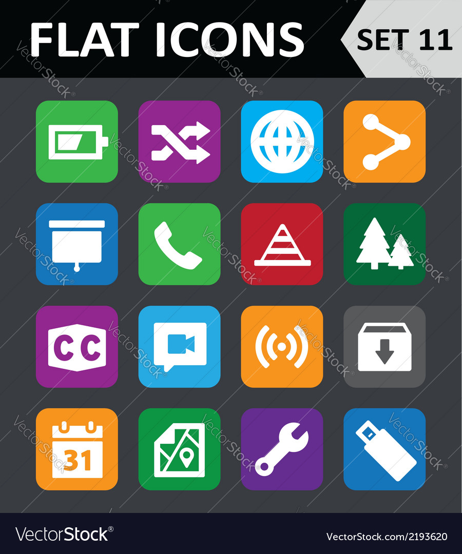 Universal colorful flat icons set 11 vector | Price: 1 Credit (USD $1)