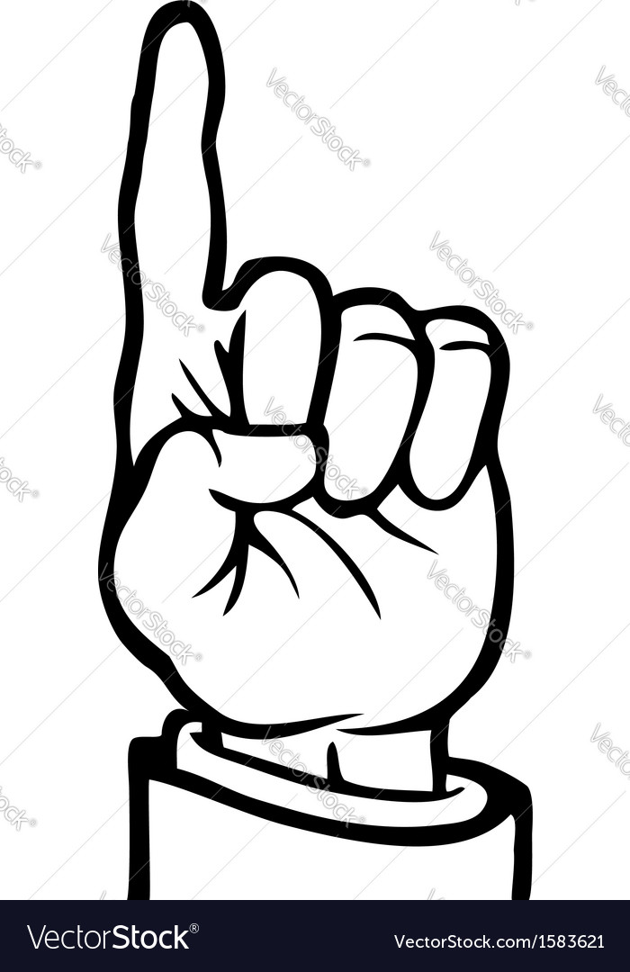 Black and white index finger vector | Price: 1 Credit (USD $1)