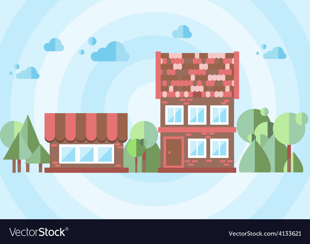Brick house on a blue background vector | Price: 1 Credit (USD $1)