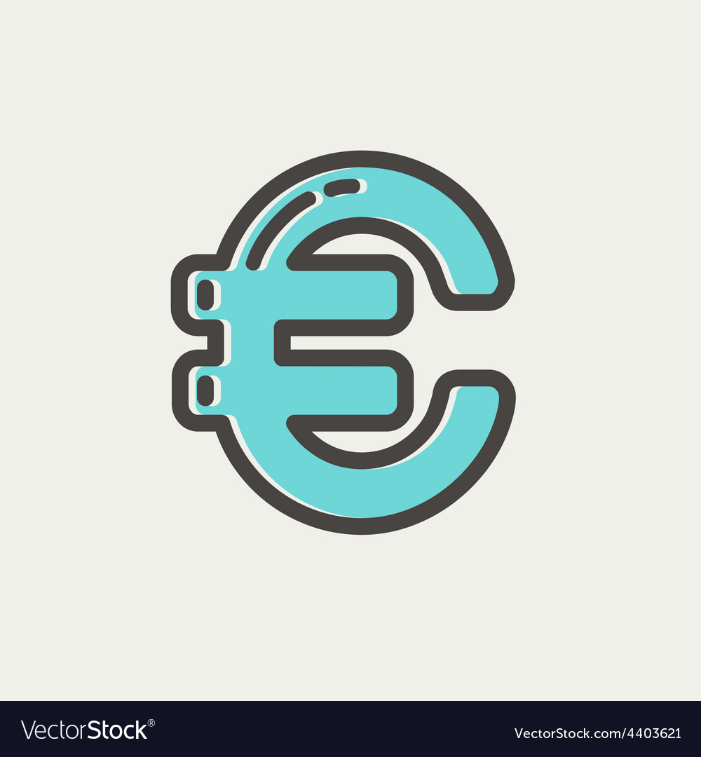 Euro symbol thin line icon vector | Price: 1 Credit (USD $1)