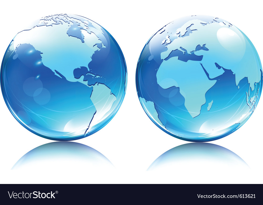 Glossy earth map globes vector | Price: 1 Credit (USD $1)