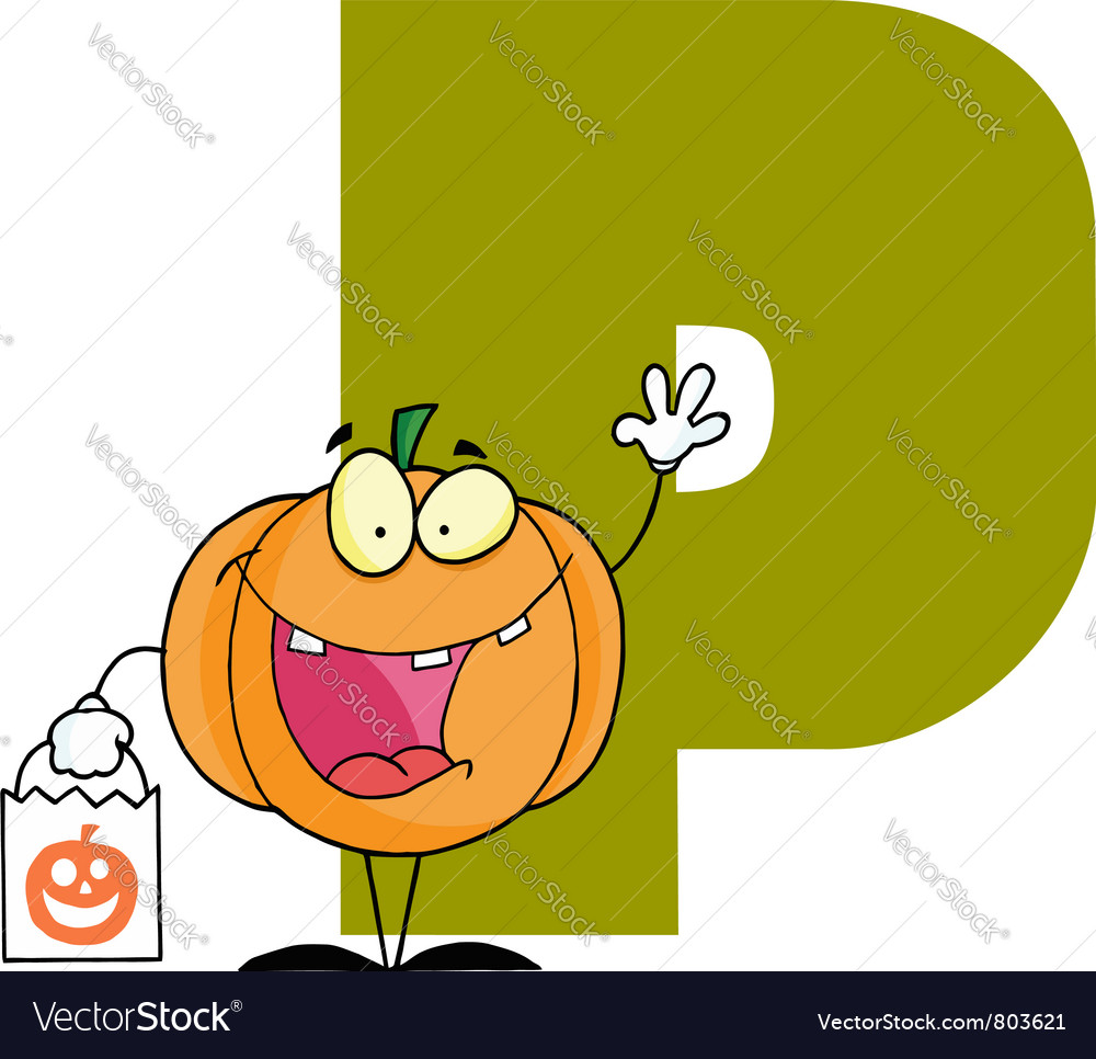 Letter p with a pumpkin vector   Price: 1 Credit (USD $1)