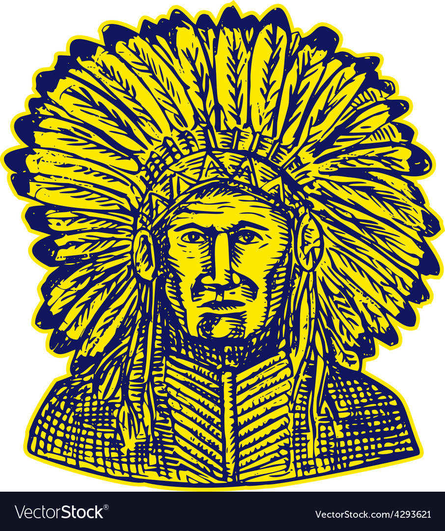 Native american indian chief warrior etching vector | Price: 1 Credit (USD $1)