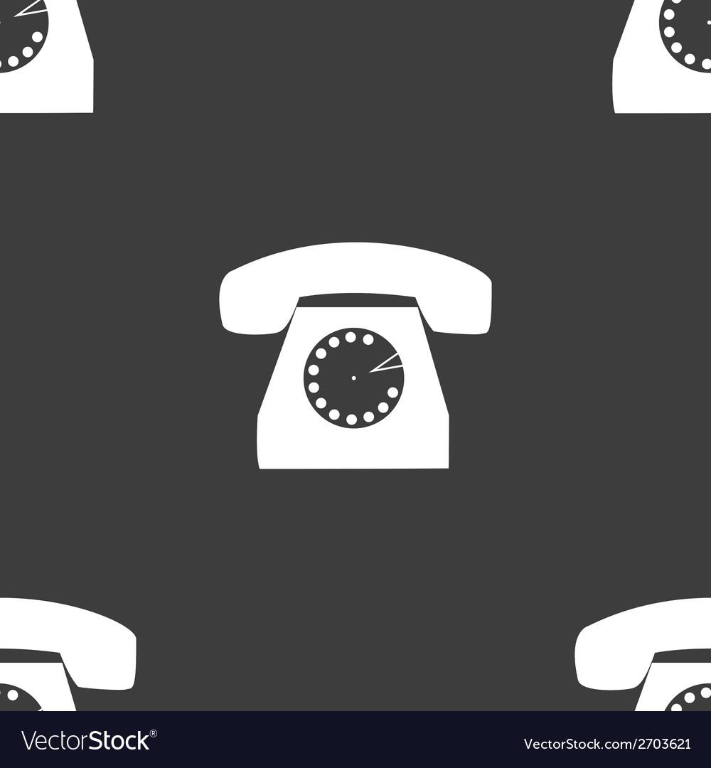 Retro telephone web icon flat design seamless gray vector | Price: 1 Credit (USD $1)