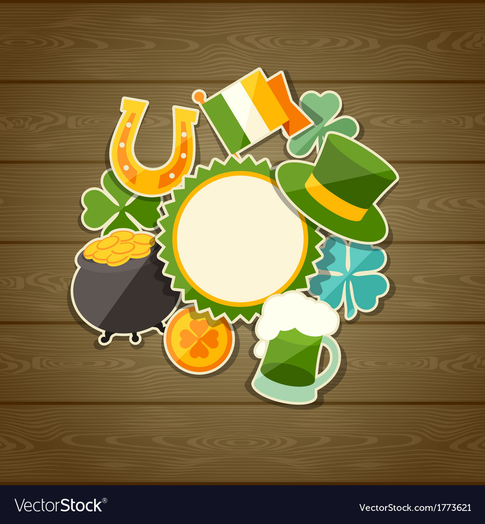 Saint patricks day greeting card with stickers vector | Price: 1 Credit (USD $1)