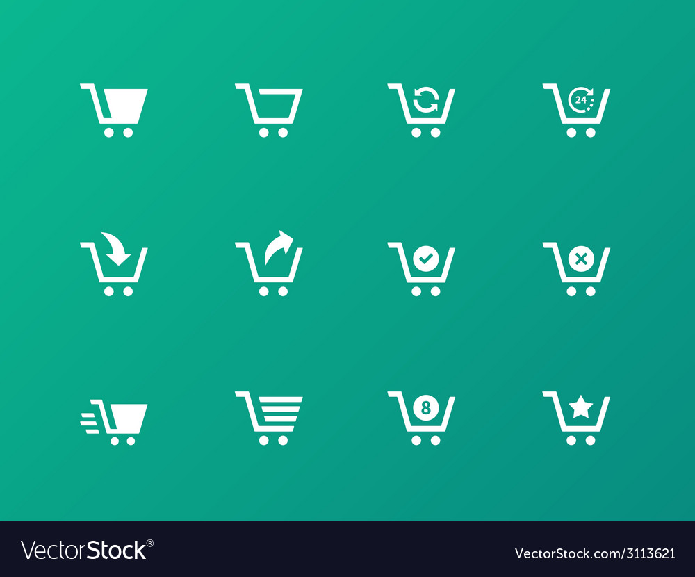 Shopping cart icons on green background vector | Price: 1 Credit (USD $1)