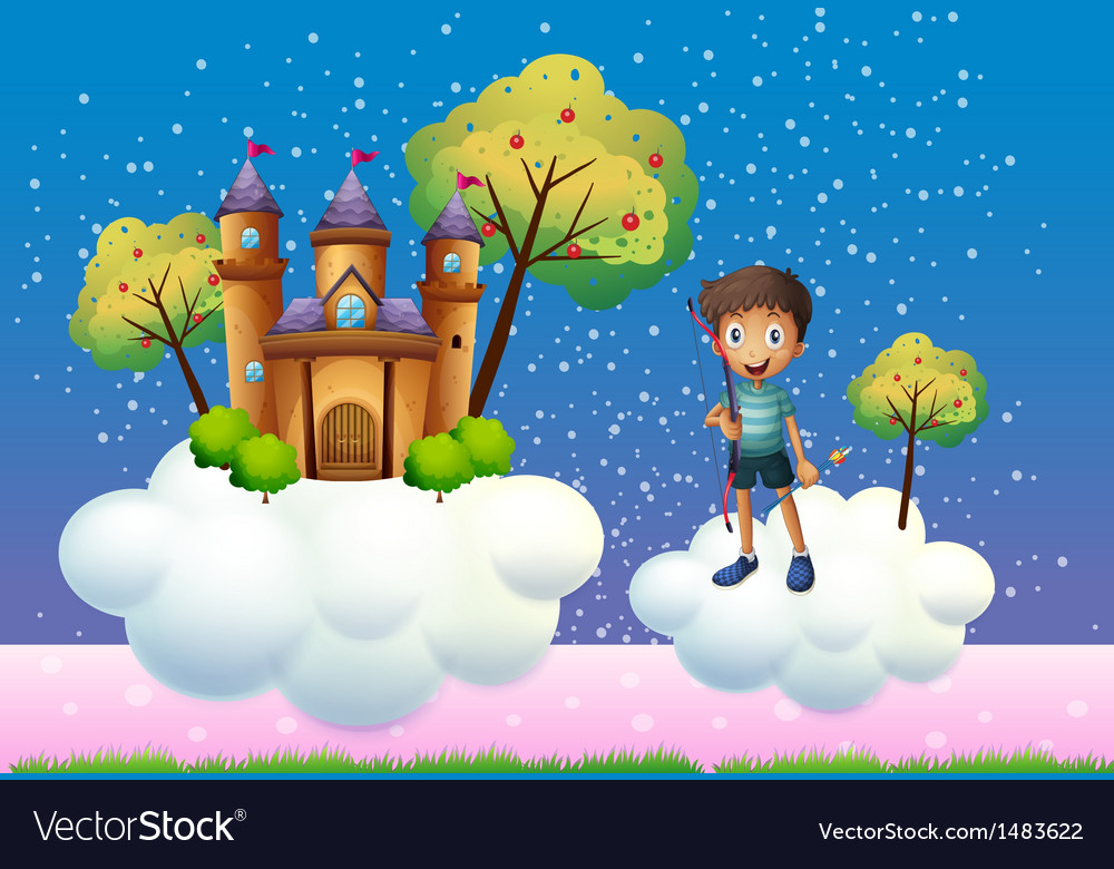 A boy and a floating castle vector | Price: 1 Credit (USD $1)