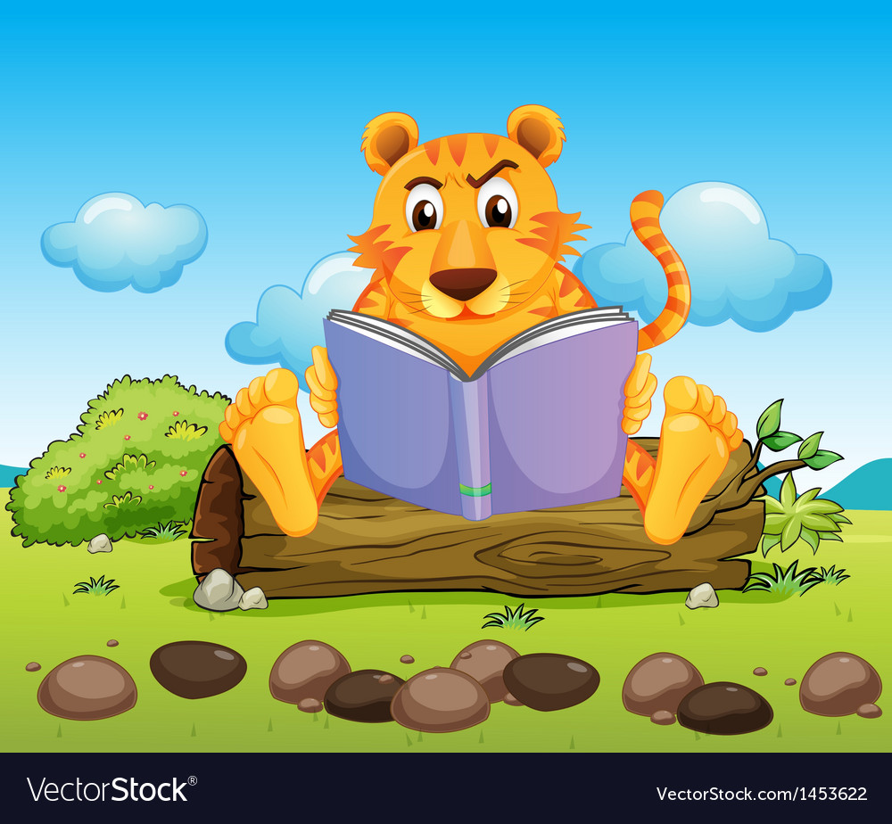 A tiger reading a book seriously vector | Price: 1 Credit (USD $1)