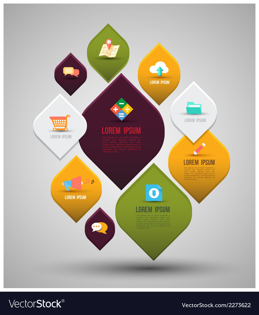 Abstract business info graphics with flat icons vector | Price: 1 Credit (USD $1)