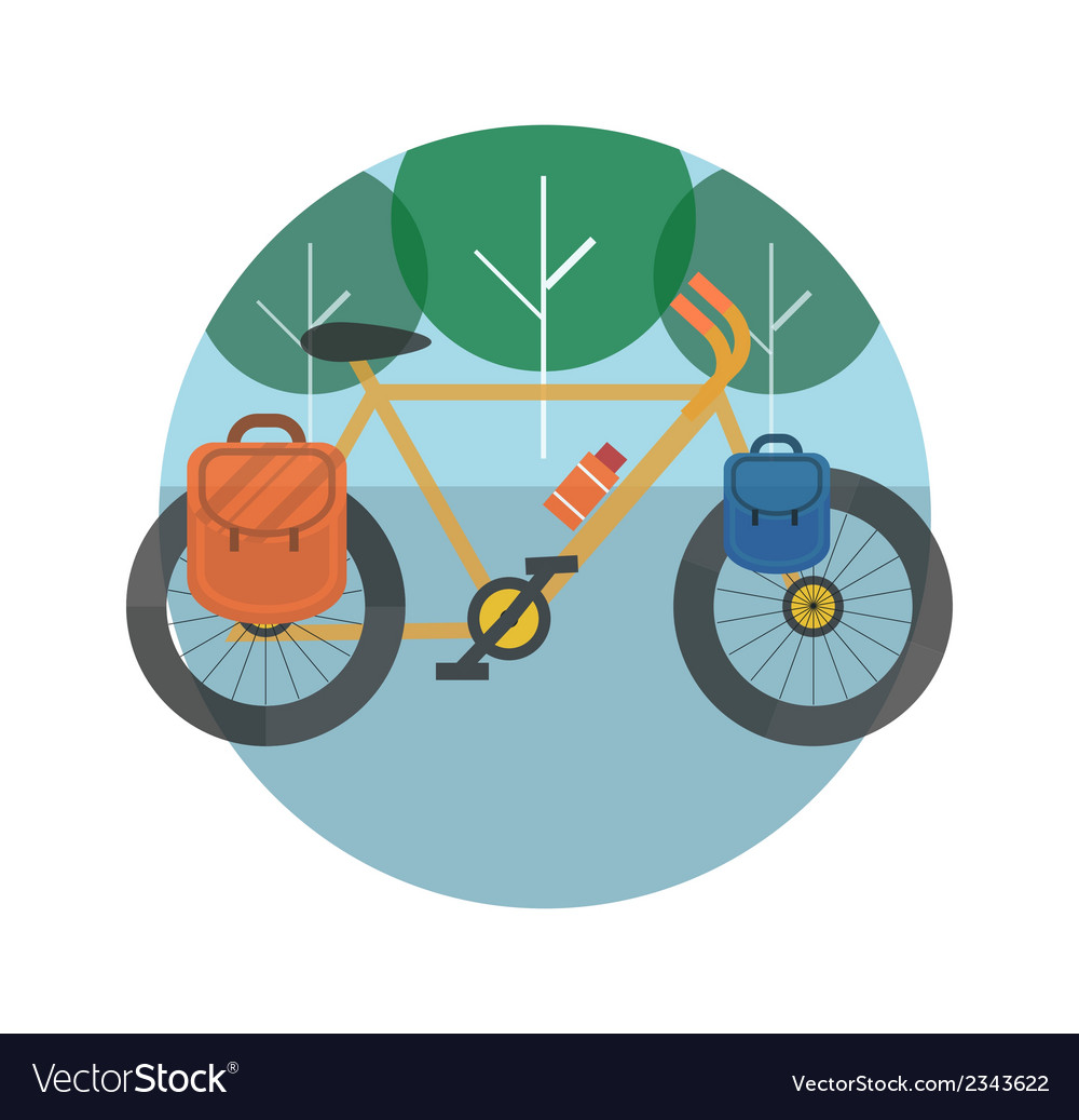 Bicycle near the trees bicycle tourism vector | Price: 1 Credit (USD $1)