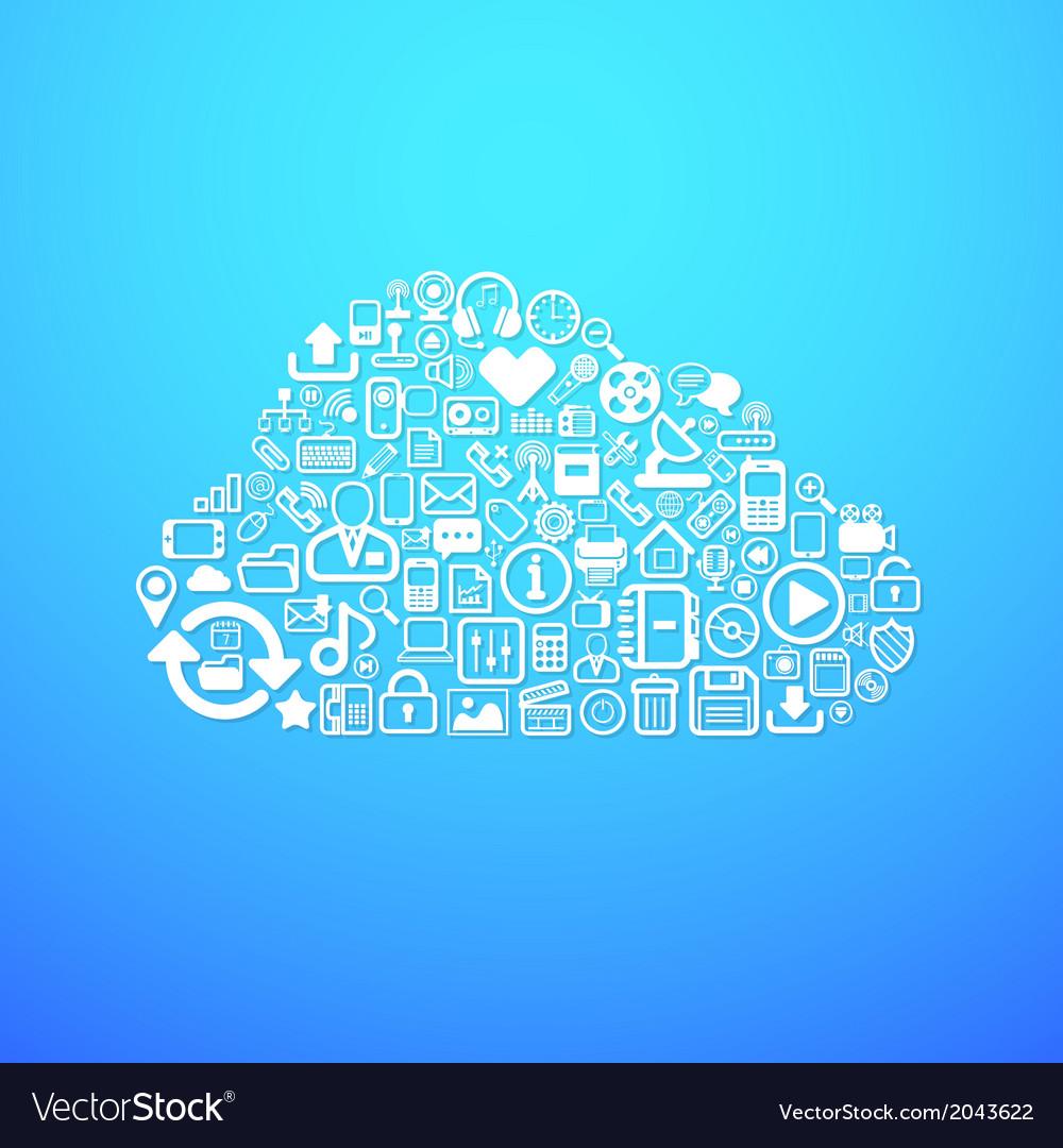 Computer cloud icon vector | Price: 1 Credit (USD $1)