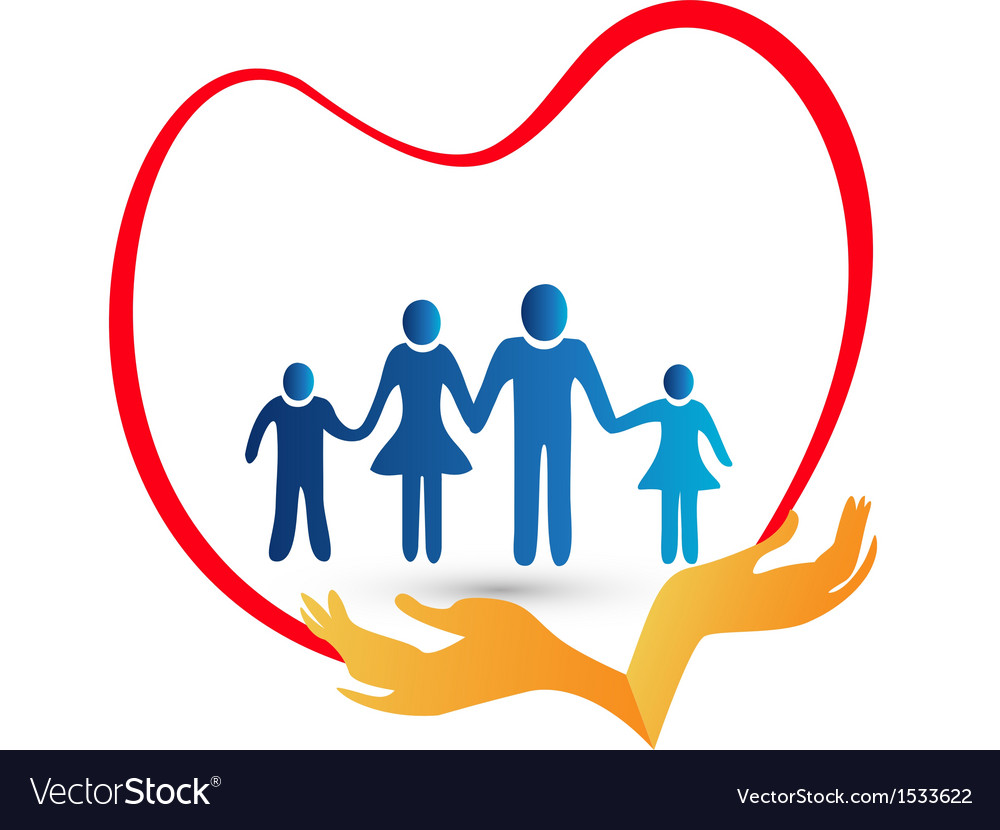 Family love protected by hands logo vector | Price: 1 Credit (USD $1)