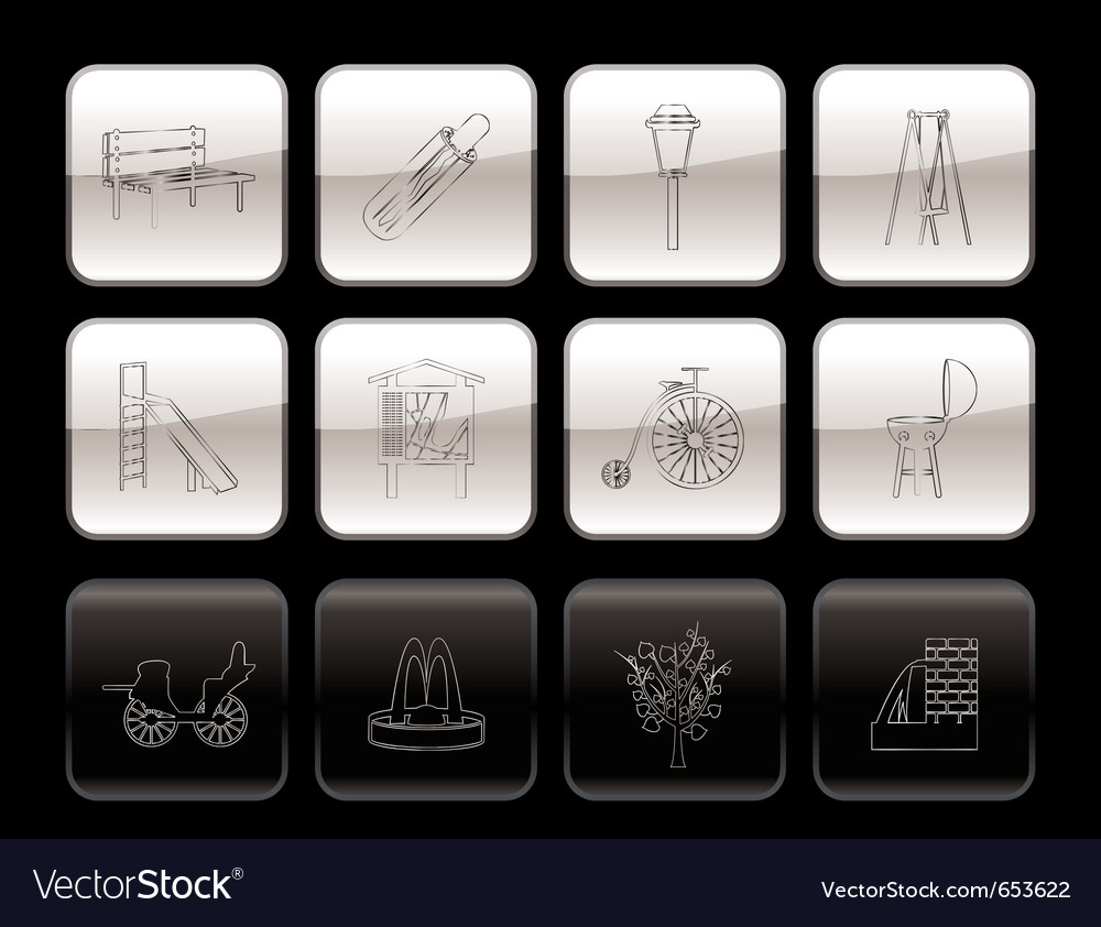 Park objects and signs icon vector | Price: 1 Credit (USD $1)