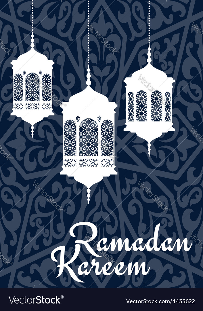 Ramadan kareem greeting card with oriental vector | Price: 1 Credit (USD $1)