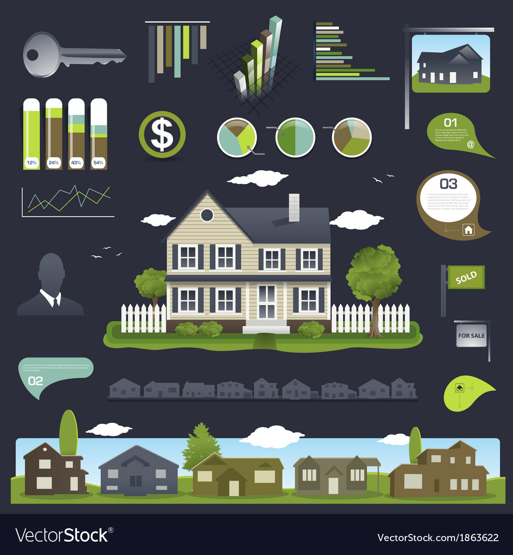 Real estate infographics design with house vector | Price: 1 Credit (USD $1)