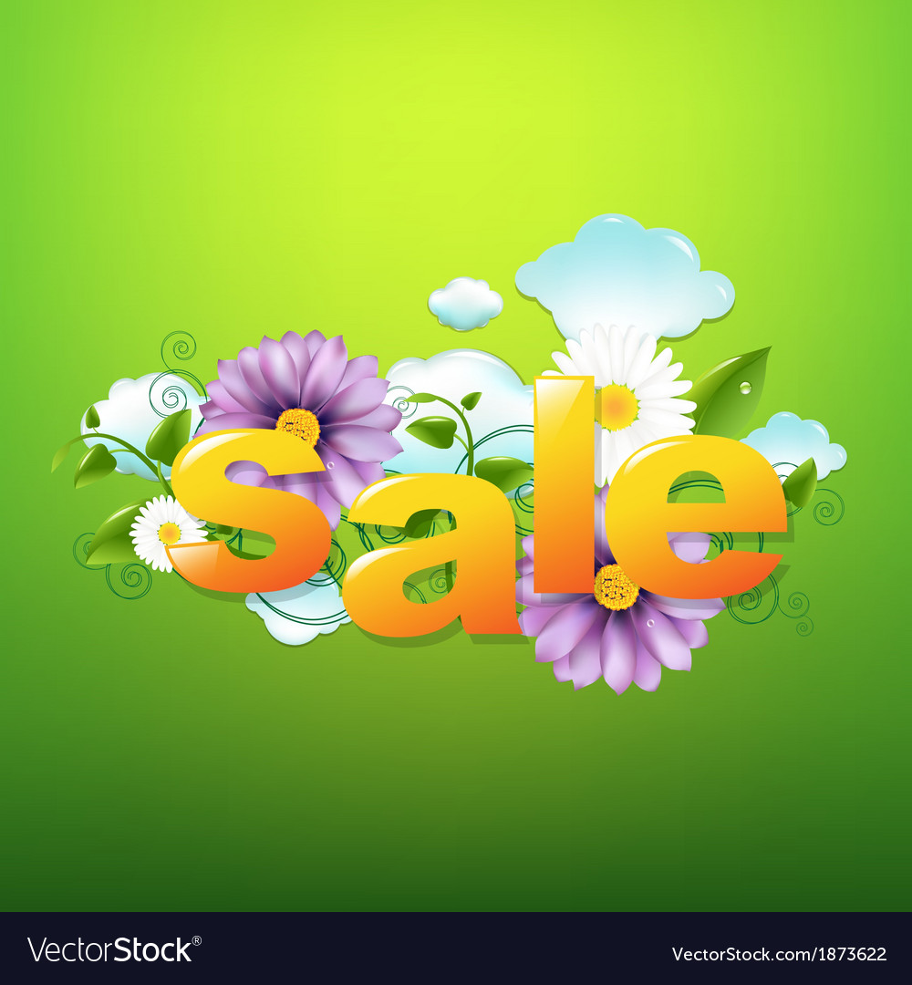 Sale poster with green background vector | Price: 1 Credit (USD $1)