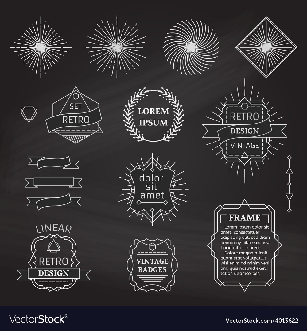 Set of chalk linear design elements vector   Price: 1 Credit (USD $1)