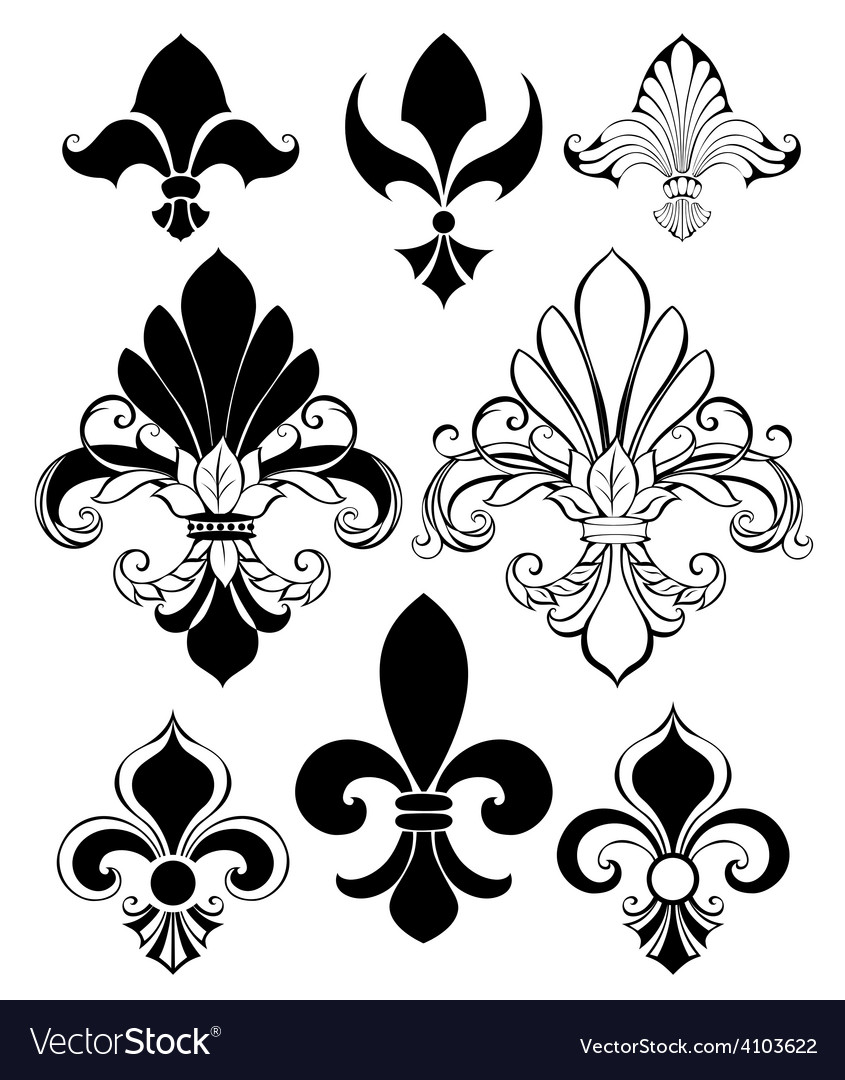 Set of fleur de lis vector | Price: 1 Credit (USD $1)