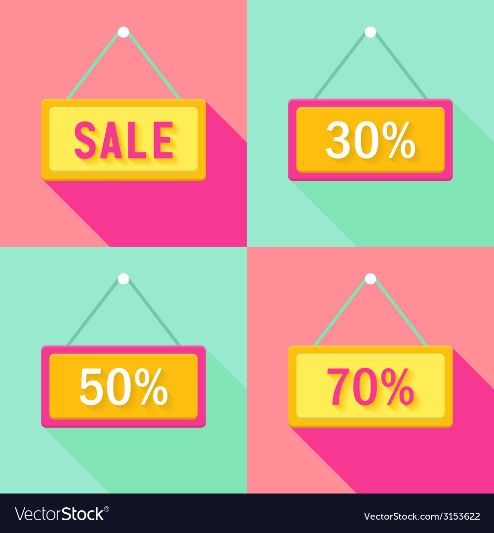 Yellow pink cyan sale signs set vector | Price: 1 Credit (USD $1)