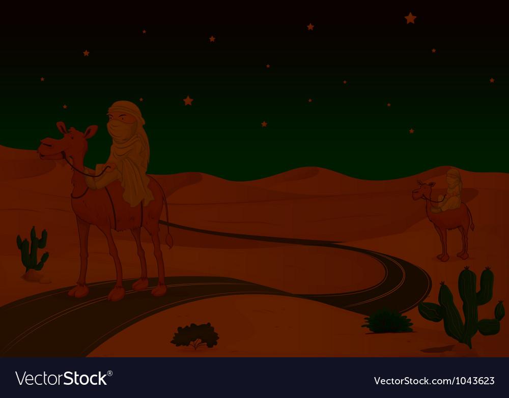 Arabians riding on a camel vector