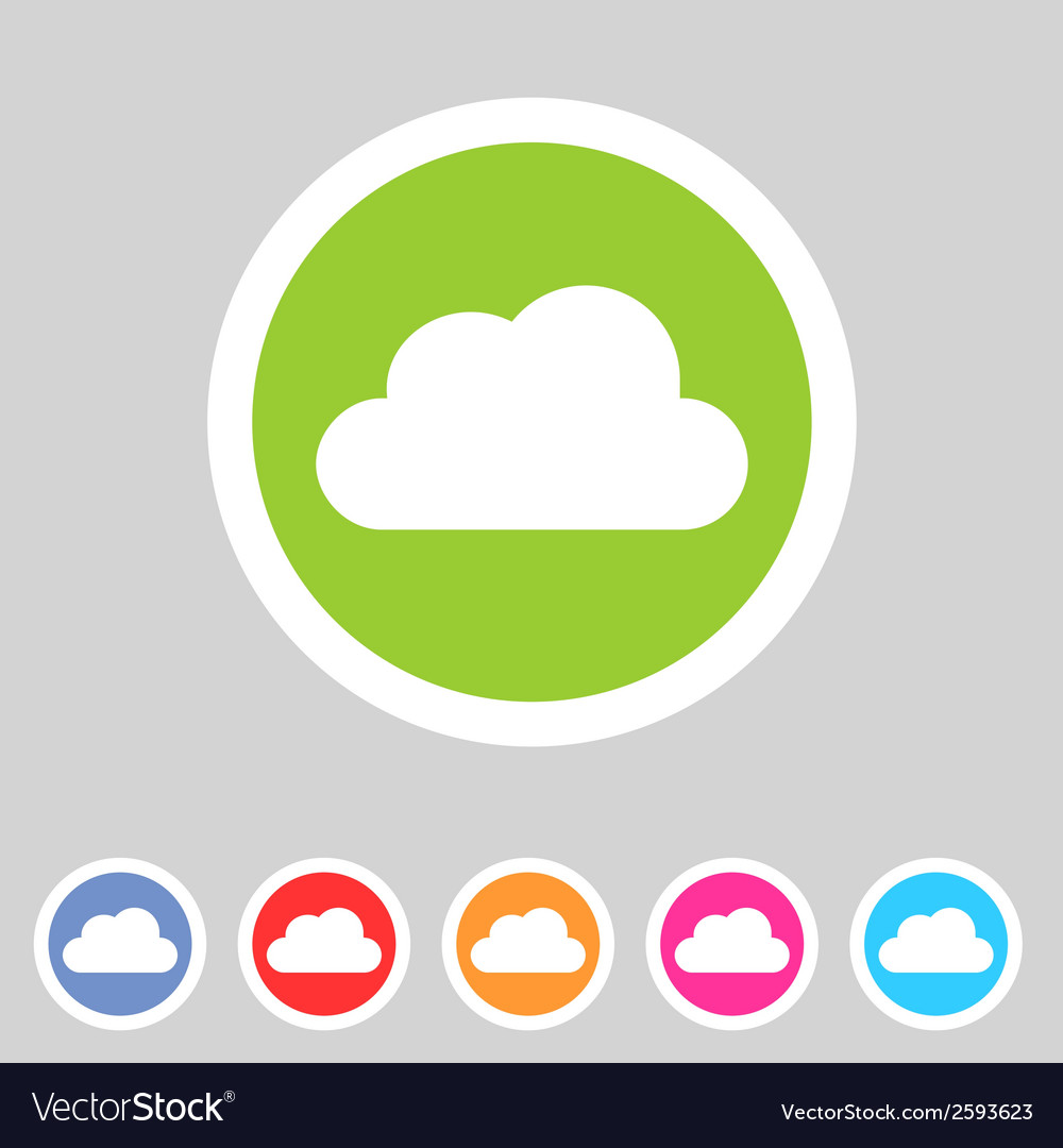 Cloud flat shape icon set collection vector | Price: 1 Credit (USD $1)