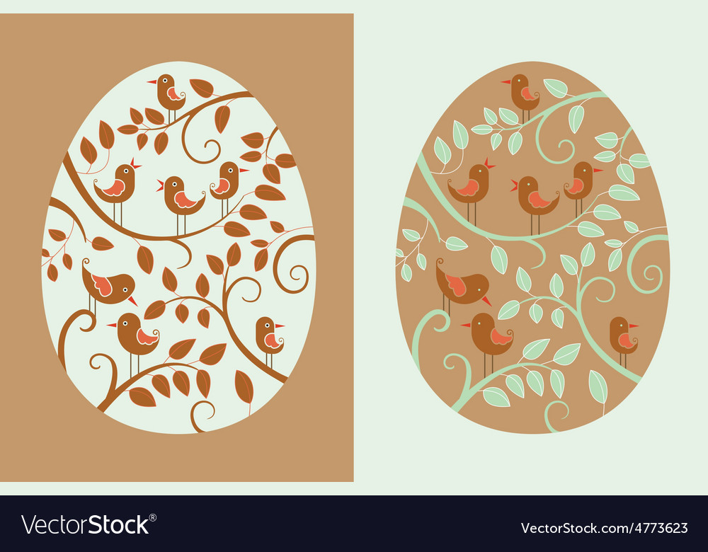 Easter eggs with bird vector | Price: 1 Credit (USD $1)