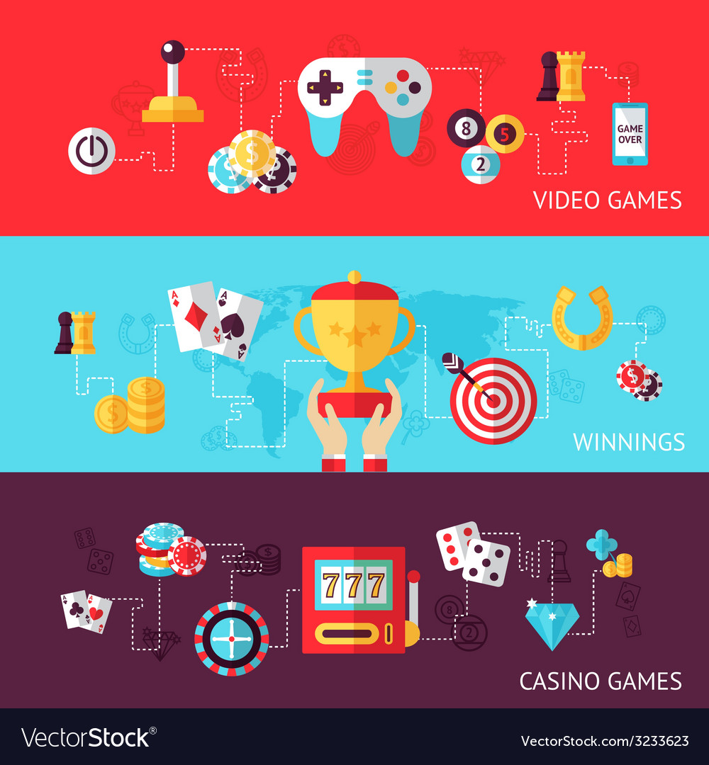 Game design banner set vector | Price: 1 Credit (USD $1)