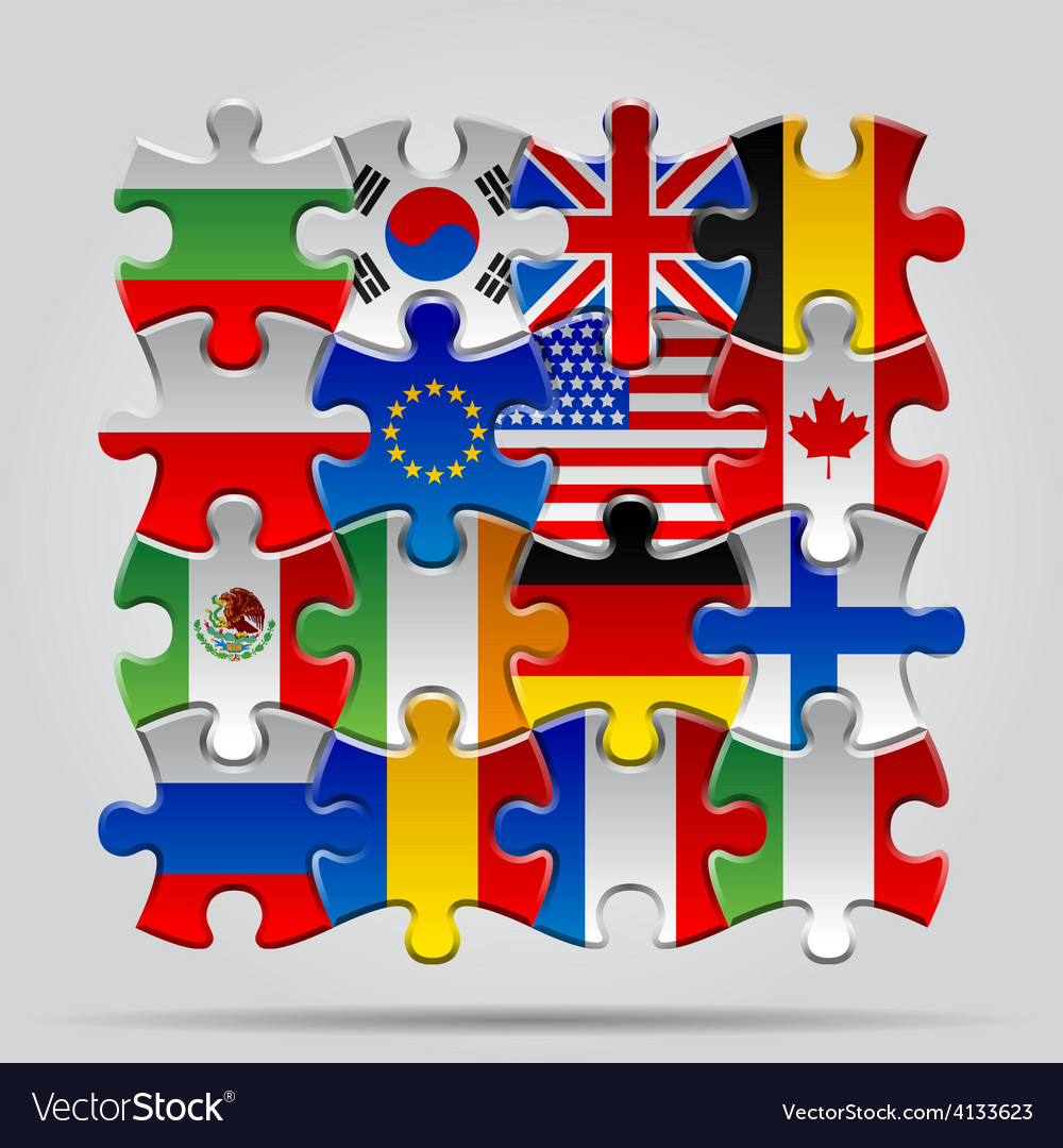 Puzzle flags vector | Price: 3 Credit (USD $3)