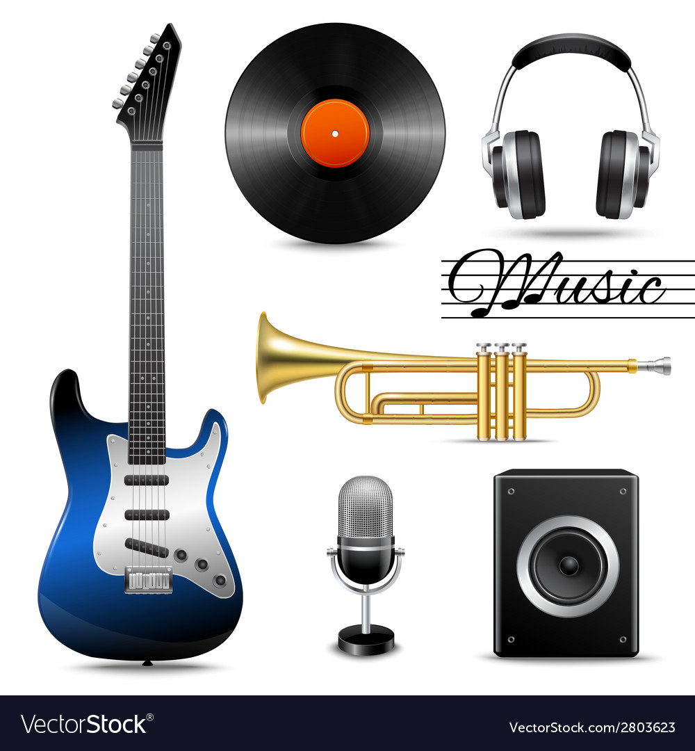 Realistic music icons set vector | Price: 1 Credit (USD $1)