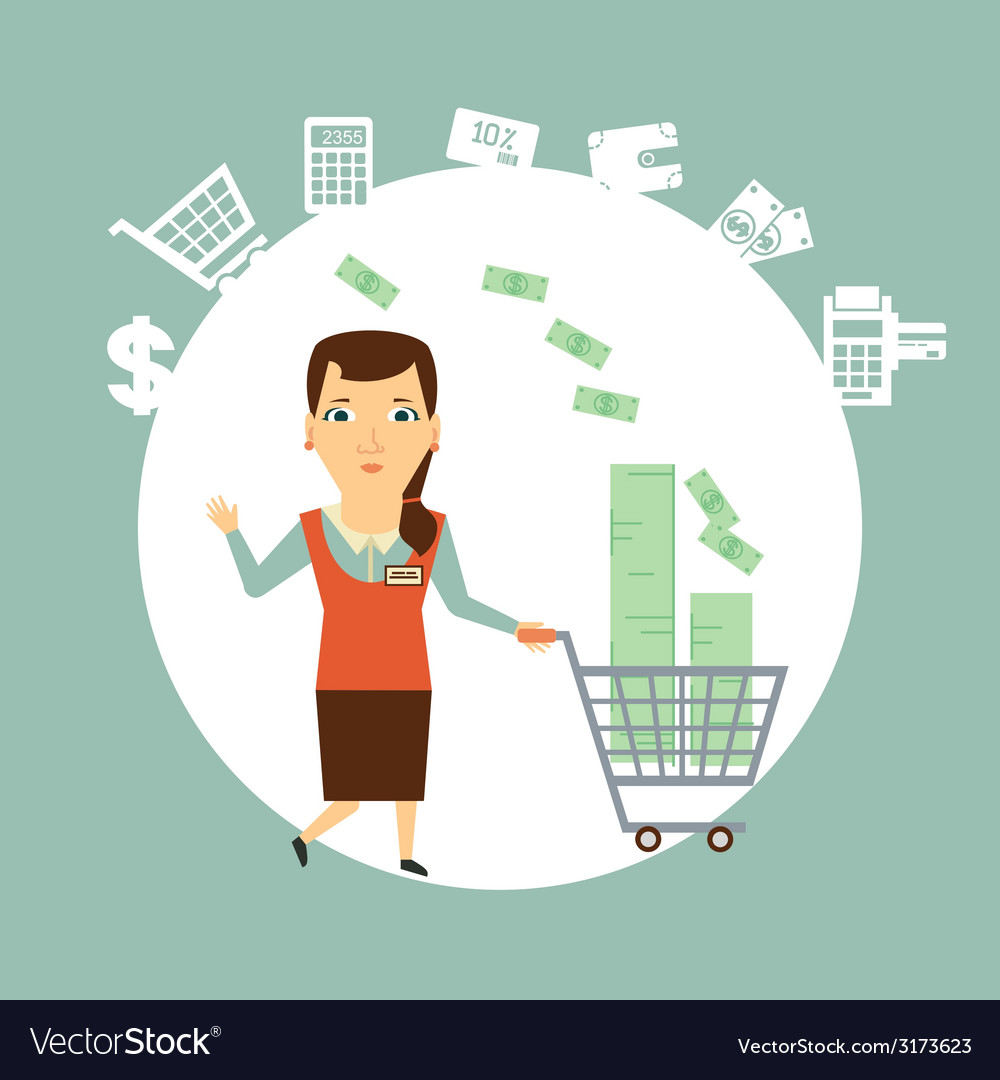 Salesman carries the cart with money vector | Price: 1 Credit (USD $1)