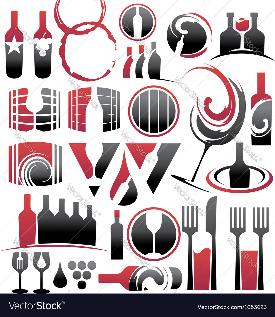 Set of wine icons symbols signs and logos vector | Price: 1 Credit (USD $1)