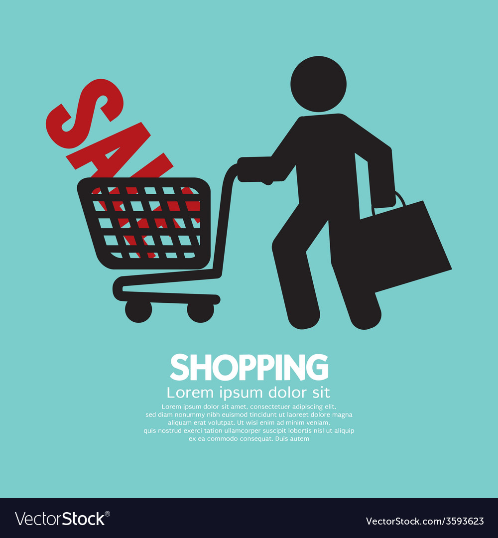 Shopper with shopping cart symbol vector | Price: 1 Credit (USD $1)