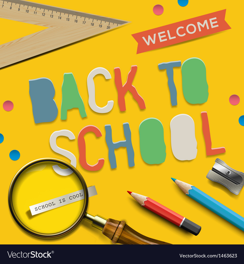 Welcome back to school on yellow background vector | Price: 1 Credit (USD $1)