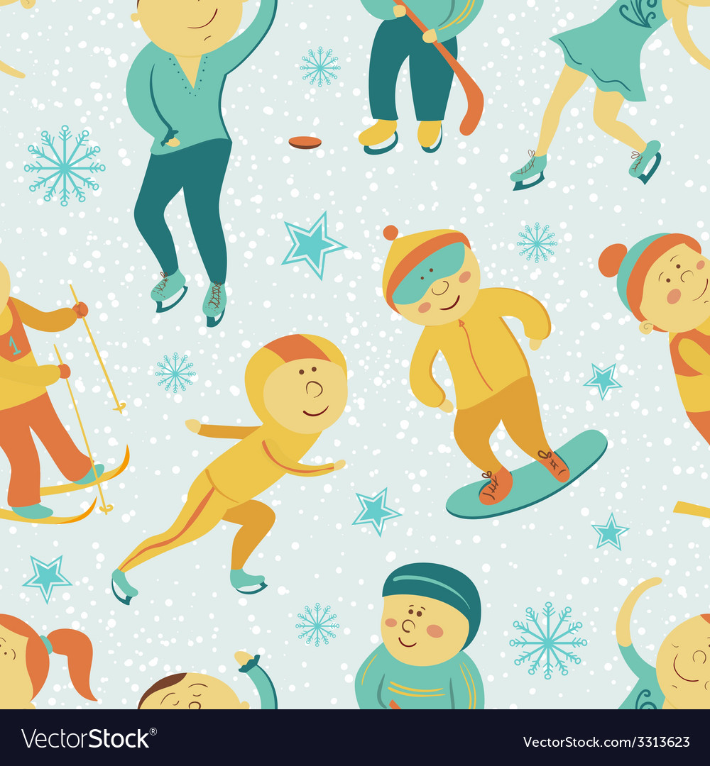 Winter sports seamless pattern with children vector | Price: 1 Credit (USD $1)