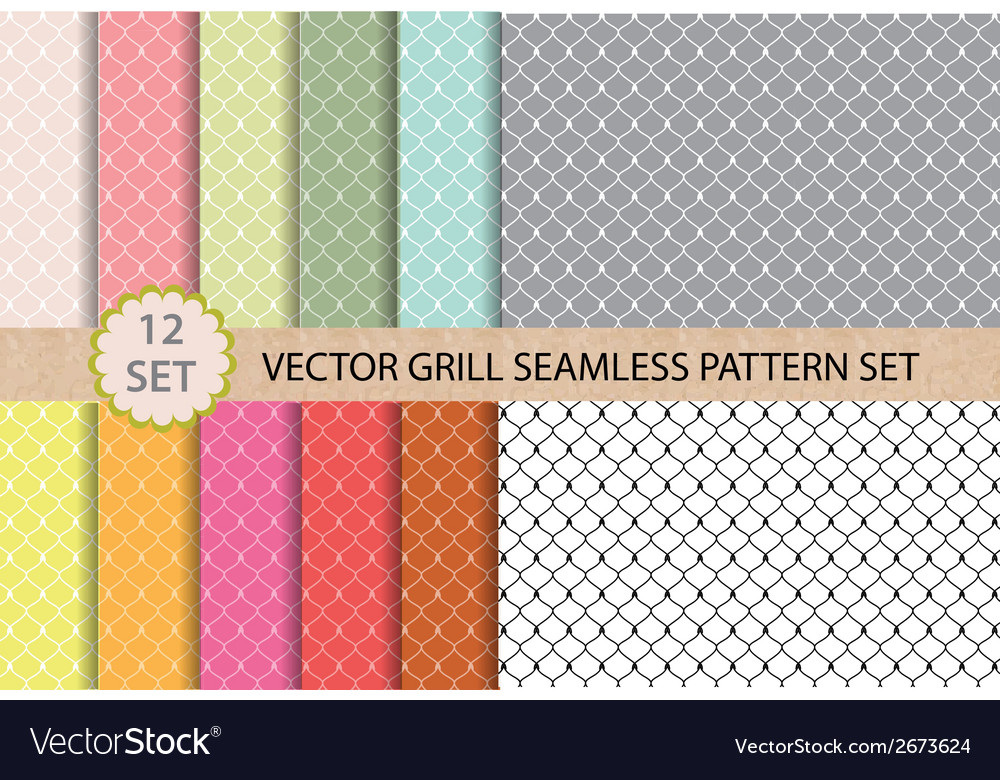 12 set grill seamless pattern vector | Price: 1 Credit (USD $1)