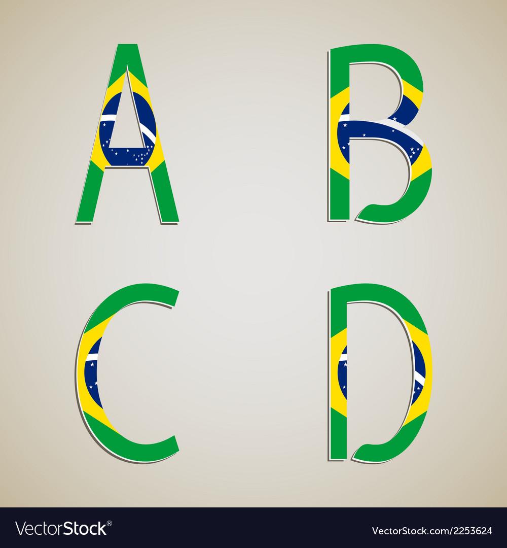 Brazil style font set vector | Price: 1 Credit (USD $1)