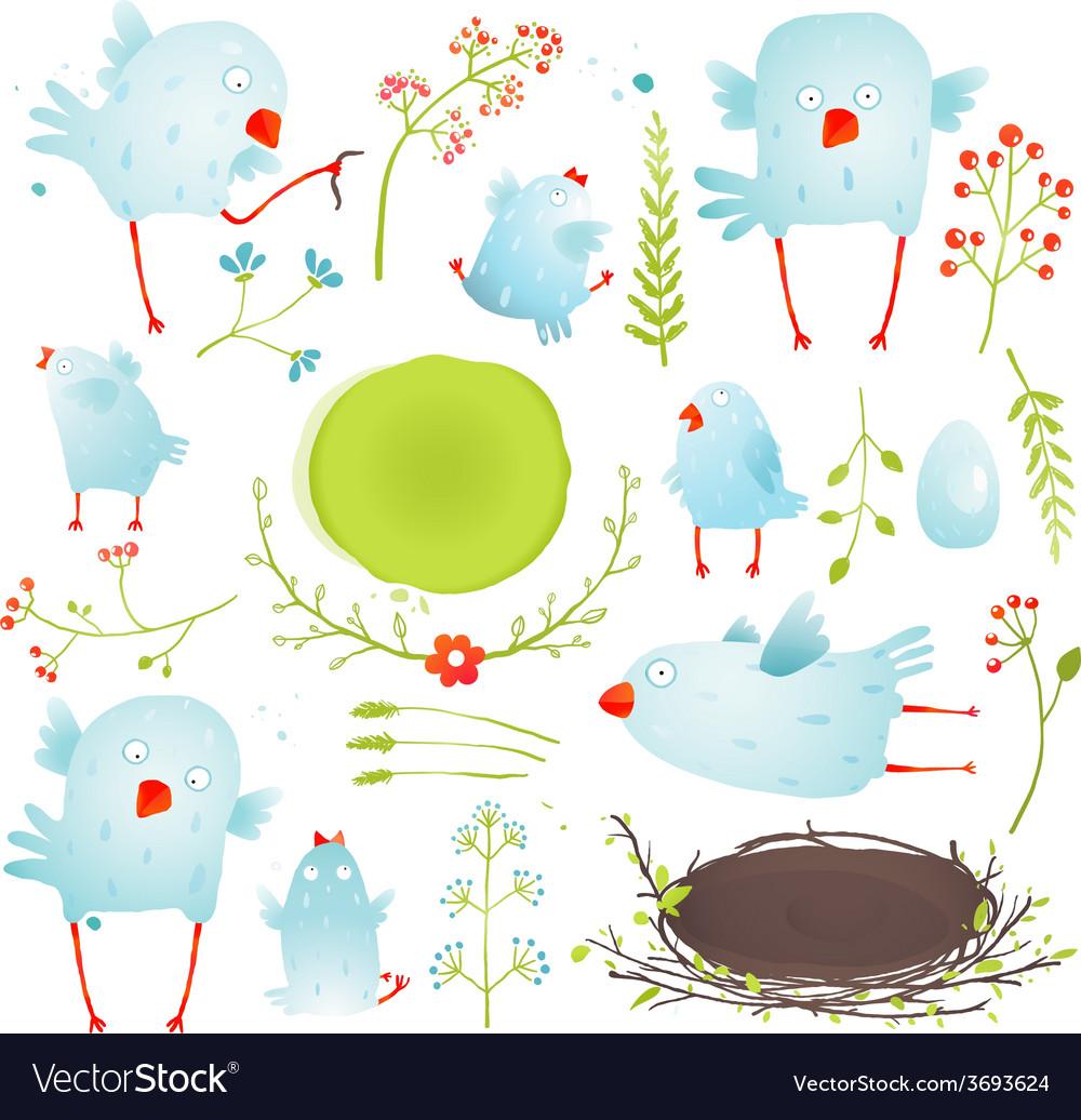 Cartoon fun and cute baby birds collection vector | Price: 1 Credit (USD $1)