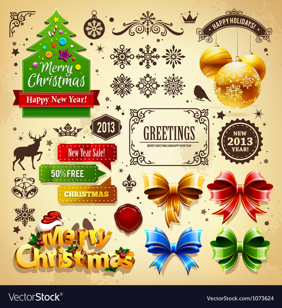 Christmas decoration set vector | Price: 3 Credit (USD $3)
