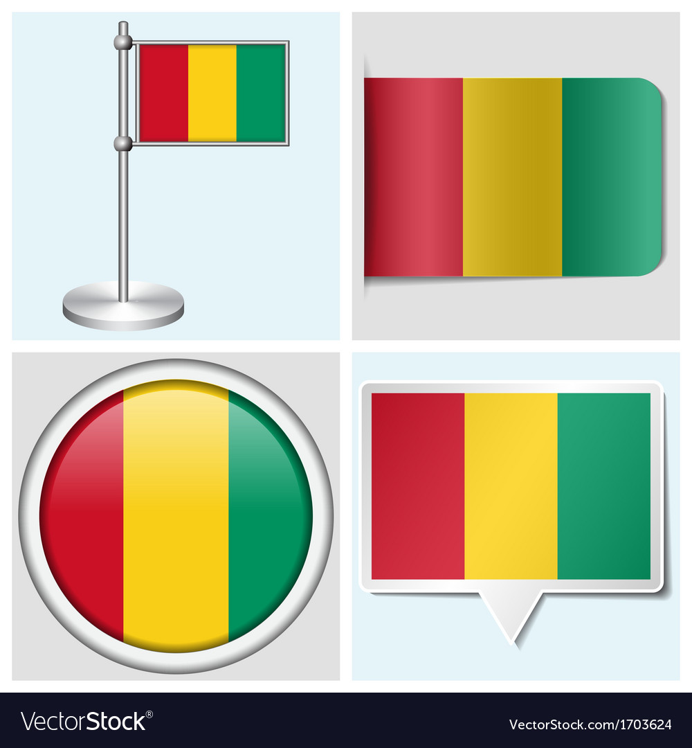 Guinea flag - sticker button label flagstaff vector | Price: 1 Credit (USD $1)