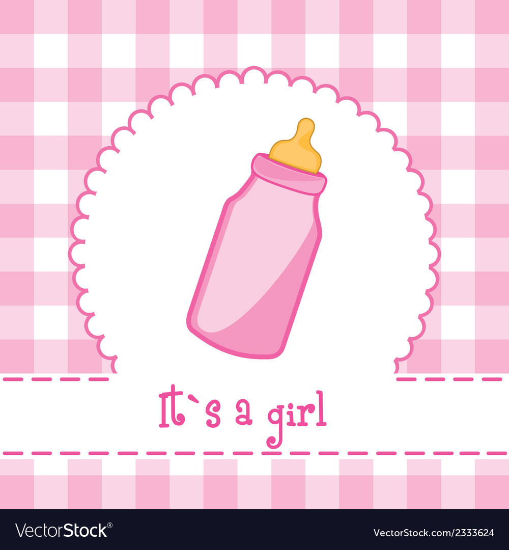 Its a girl card with bottle baby baby shower vector | Price: 1 Credit (USD $1)