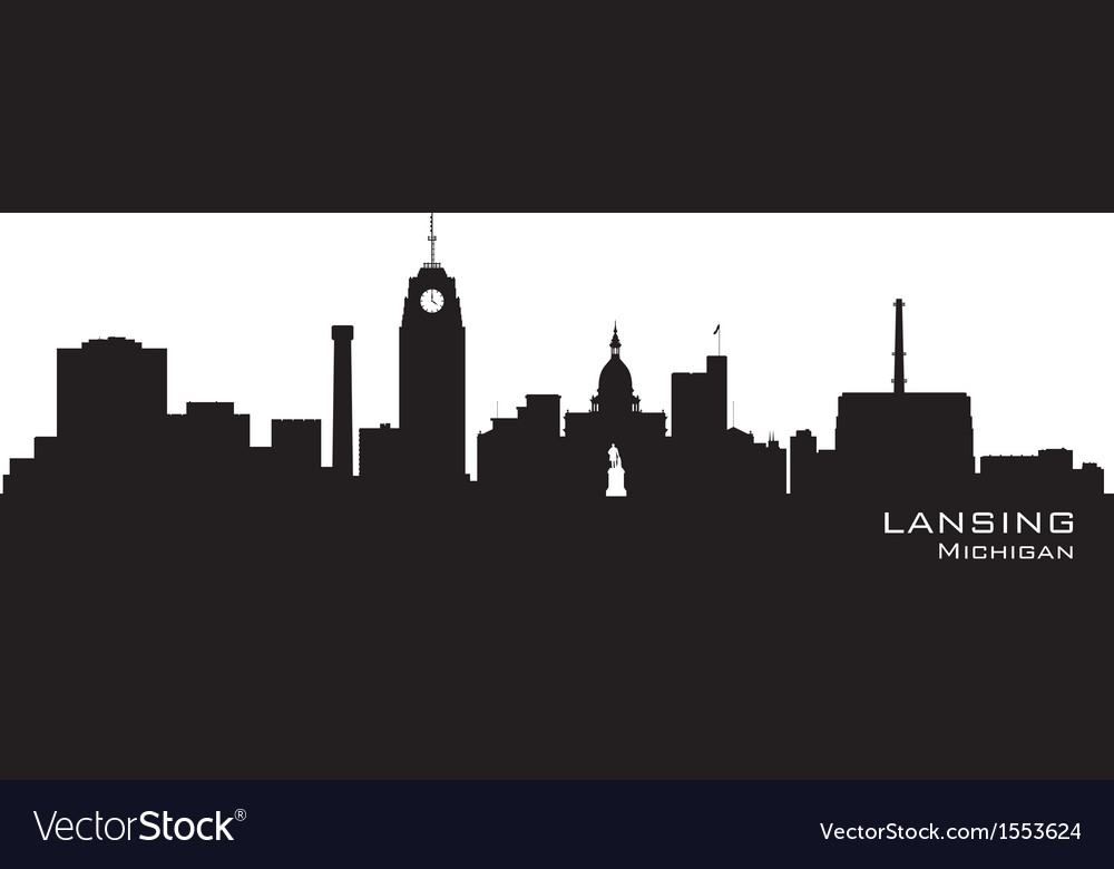 Lansing michigan skyline detailed silhouett vector | Price: 1 Credit (USD $1)