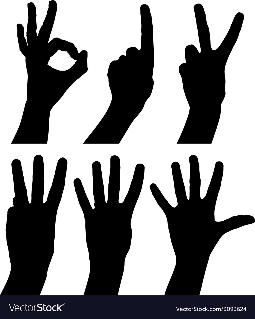 Numbers hand signs set detailed black and white vector | Price: 1 Credit (USD $1)