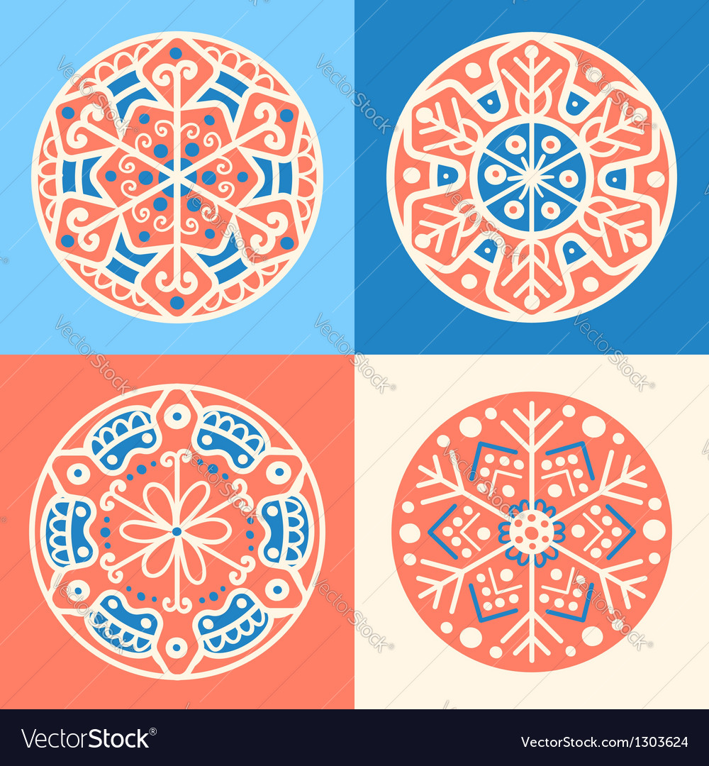 Set of four decorative round patterned elements vector | Price: 1 Credit (USD $1)
