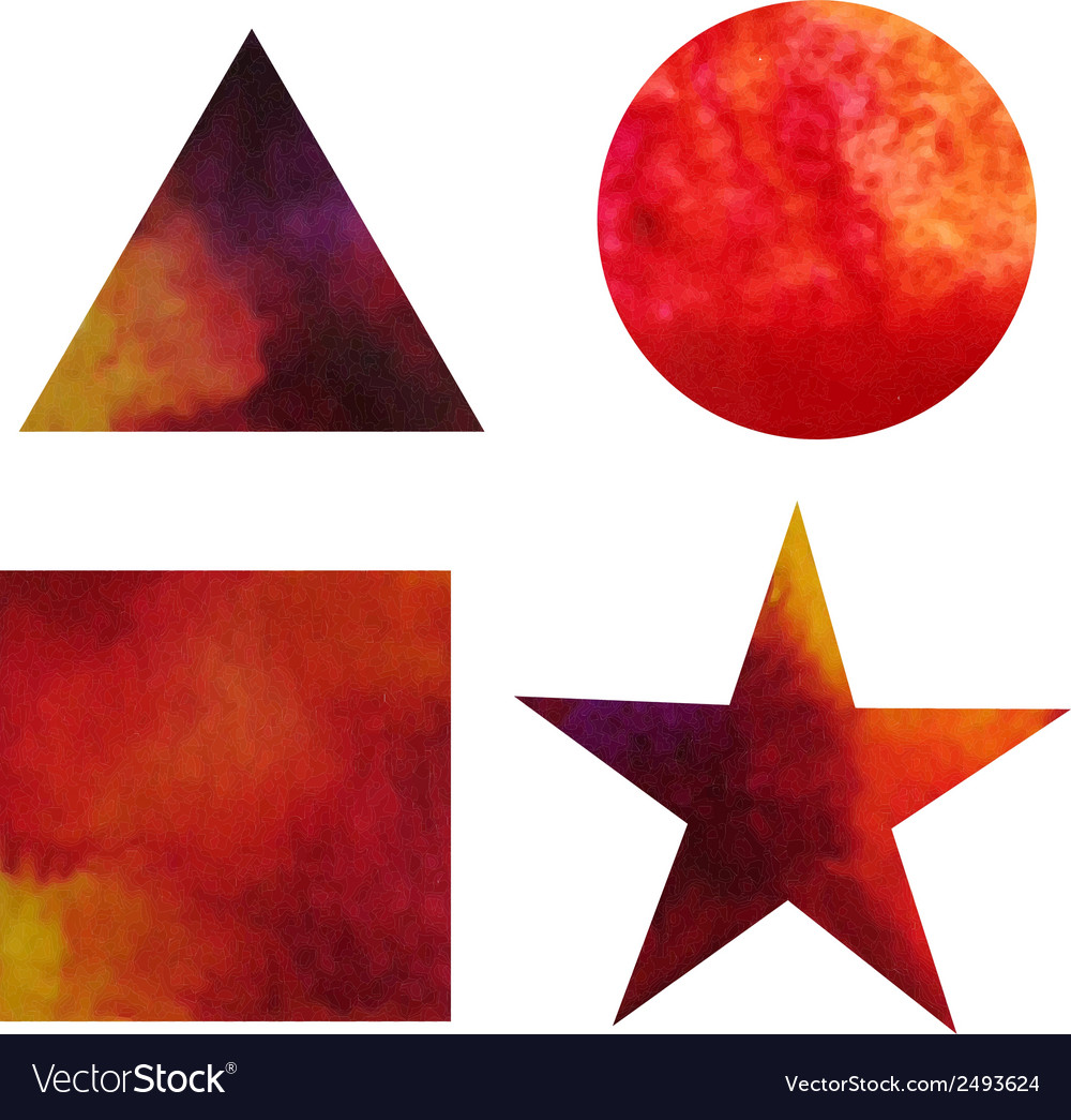 Set of watercolor gradient painted basic shapes vector | Price: 1 Credit (USD $1)