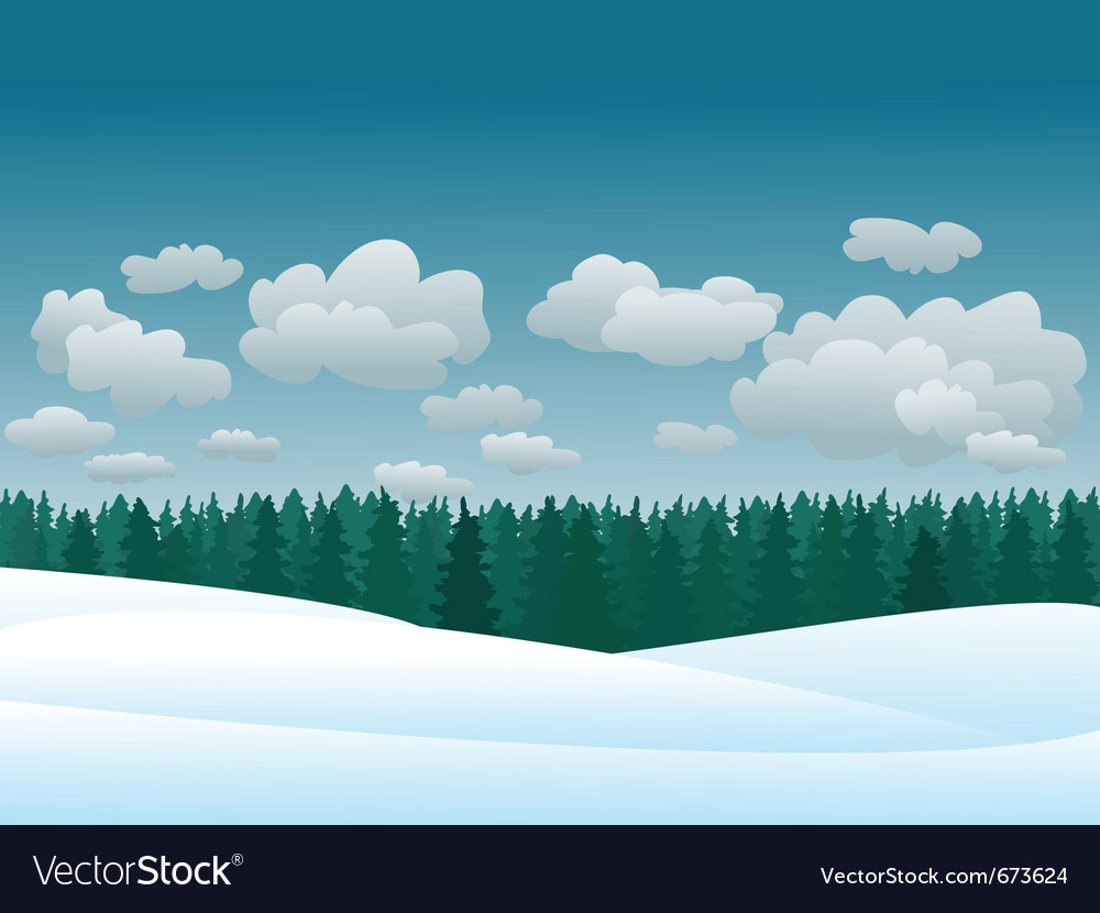 Snowy winter landscape vector | Price: 1 Credit (USD $1)