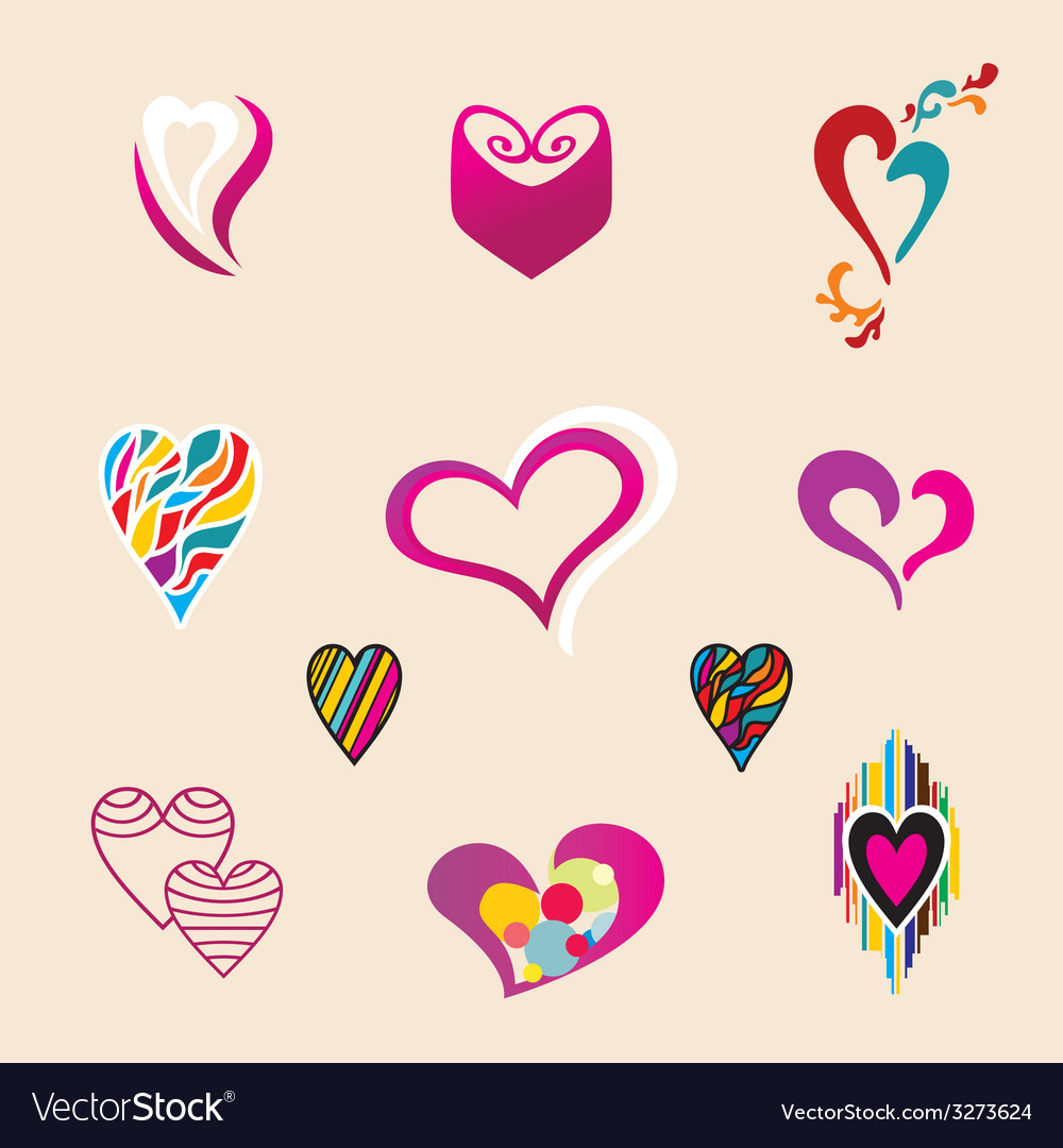 Valentine hearts set vector | Price: 1 Credit (USD $1)