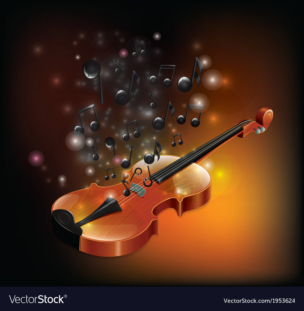 Violin with melody vector | Price: 1 Credit (USD $1)